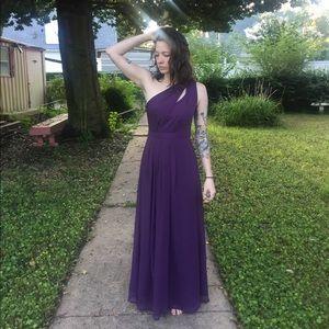 David's Bridal Plum Long One-Shoulder Dress